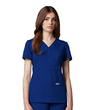 Greys Anatomy 4153 Indigo Junior Fit  3 Pocket Mock Wrap Scrub Top