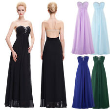 Women Long Chiffon Strapless Bridesmaid Formal Gown Ball Party Evening Dress
