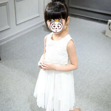 New Rose Flowers Fashion Baby Kids Girl Lace Tulle Tutu Dress Wedding Party Gown