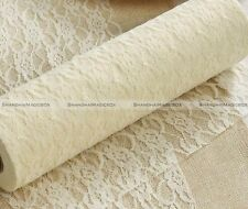 Lace Roll Fabric 30cm x 24 Yards Wedding Chair Sash Table Runner White Pink