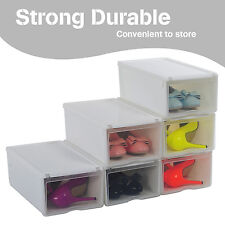 Ladies Stackable Foldable Clear Plastic Shoe Storage Boxes Organiser with cover