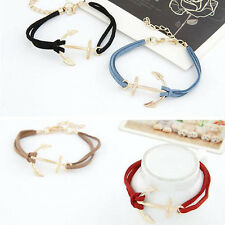 Women Vintage Gold Anchor Chain Hook Leather Bangle Cuff Alloy Bracelet Jewelry