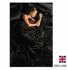 6 Pc SATIN COMPLETE BEDDING SET Silk Duvet Cover Fitted Sheet Pillows BLACK UK