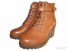 EX CHAIN LADIES WEDGE HIGH HEEL SHOE PLATFORM HIGH HEEL ANKLE STRAP BOOT Sz 8 -9