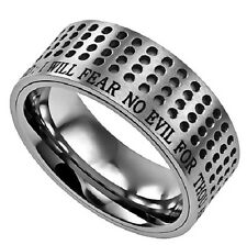 Cool Stainless Steel Bible Verse Ring, Psalm 23 FEAR NO EVIL, Dotted Style