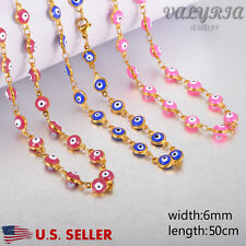 VALYRIA NEW 316L Stainless Steel Women's Gold Evil Eyes Fashion Necklace 19.6''