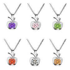 Women Fashion 925 Sterling Silver Apple Pendant Necklace Chain Jewelry Love Gift