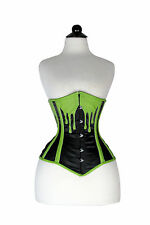 Stylish Sexy and New Green/Black Stain+Leather Under Bust Corset