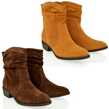 WOMENS LADIES COWGIRL SLOUCH ANKLE FAUX NUBUCK LEATHER BOOTS WINTER SHOES SIZE