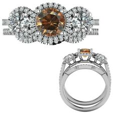 2.35 Ct Champagne Diamond Designer Three Stone Halo Ring + Band 14K White Gold