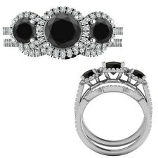 2.35 Carat Black Diamond Designer Three Stone Halo Ring + Band 14K White Gold