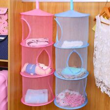 3 Layers Folding Mesh Hanging Basket Storage Organizer Toy Cloth Bag Decoration
