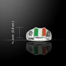 Irish Flag Celtic Shamrock .925 Sterling Silver Ring by Peter Stone
