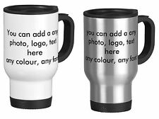 Personalised Thermal Travel Mug flask with yours Image Text Photo Picture gift