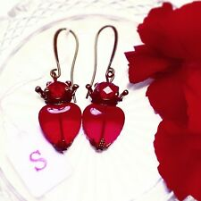 Ruby Red glass Sacred heart earrings, Vintage Tattoo, Antique bronze Silver Gold