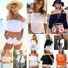 New Womens Casual Boho Off Shoulder Tee Shirt Summer Crop Tank Beach Tops Blouse