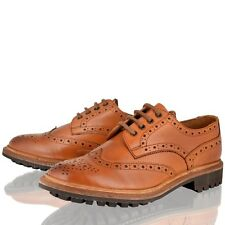 MENS REAL LEATHER TAN BROGUE COMMANDO SOLE GOOD YEAR WELTED LACE UP SHOES SIZE