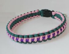 SENC 550 Paracord Dog Collar with Side Release Buckle - Teal/Pink/Purple