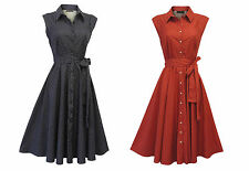 New Red or Blue Retro Vtg 1930's 1940's Shirt Tea Dress with Small Polka Dots