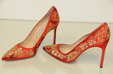$925 New Manolo Blahnik BB 105 Embroidery RED Satin Shoes Pumps 40 41.5 wedding