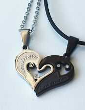 Stainless Steel Unisex Couple Necklace Love Heart Puzzle Pendants & chain SN059