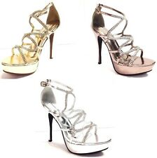 WOMEN  RHINESTONE STRAPPY OPEN TOE PLATFORMS HIGH HEELS WEDDING PROM W BUCKLE