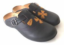 Orthaheel Deva Leather Clog w/ Arch Support Adjustable Flowers Applique PREOWNED