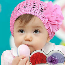 Special Design Cute Winter Infant Toddler Baby Knit With chiffon Flowers Hat