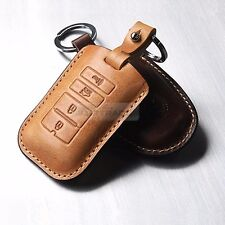 4Button Stitched Smart Key Leather Case Cover Holder Pouch BRON-5 for KIA Car