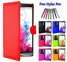 Magnetic PU Leather Side Flip Wallet Book Case Cover For LG Various Mobile Phone