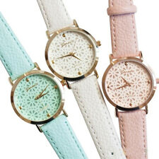 Geneva Faux Leather Band Elegant Flower Casual Analog Quartz Wrist Watch