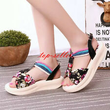Fashion Womens Floral Roman Open Toe Flats Platform Slippers Mules Sandals Shoes