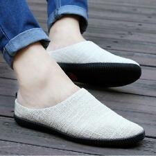 Fashion Mens Casual Linen Shoes Slip On Loafer Leisure Summer Woven Slippers NEW