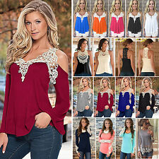 Sexy Womens Floral Lace Crochet Blouse Vest Tee Shirt BOHO Casual T shirts Tops