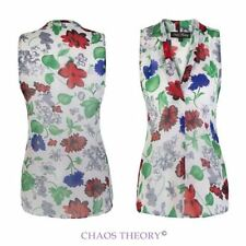 Ladies Womens Summer Casual Floral Vest Top Chiffon Sleeveless Blouse 10-16
