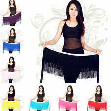 1x Chiffon Belly Dance Waist Tassel Hip Scarf Wrap Belt Costume Multicolor MAS