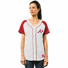 Majestic Atlanta Braves Women's White/Red Fashion Replica Jersey