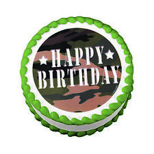 Lucks Green CAMO Camoflauge Birthday Edible Image Party Cake Topper Frosting She