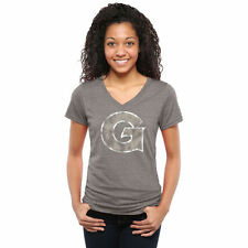 Georgetown Hoyas Women's Gray Classic Primary Tri-Blend V-Neck T-Shirt