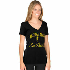 New Agenda Arizona State Sun Devils Women's Black Fanciful V-Neck T-Shirt