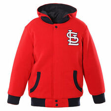 JH Design St. Louis Cardinals Toddler Red/Navy Fleece Hooded Reversible Jacket