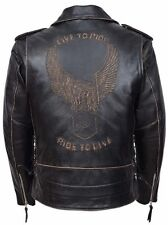 Men's BLACK DISTRESSED Live To Ride Motorcycle EMBOSSED EAGLE Leather Jacket