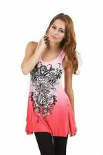 STUNNING VOCAL PINK CORAL RHINESTONE CROSS OMBRE TIE DYE TANK TUNIC TOP S M L XL