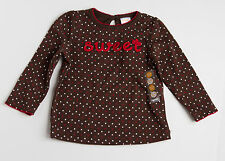 NWT GYMBOREE SWEET TREATS BROWN POLKA DOT LONG SLEEVE TOP SIZE 18-24   MO