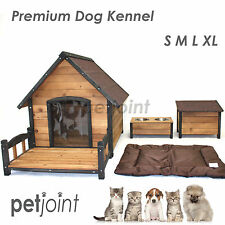 Wooden Pet Dog Kennel House Large Timber Log Cabin Wood In / Outdoor Accessories