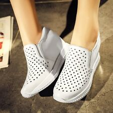 NEW Womens Cow Leather Fashion Sneakers Platform Wedge Sport Sandals Tennis Shoe