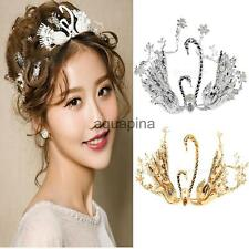 Crystal Double Swan Pearls Wedding Bridal Headband Crown Tiara