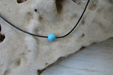 Turquoise Blue Bead Necklace Leather Chain Simple Gemstone Unisex Beach Jewelry