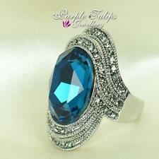 18K White Gold Plated Extravagant Large Sapphire Oval SWAROVSKI Crystals Ring