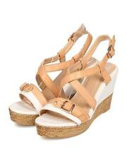 New Women Betani Ivy1 Leatherette Two-Toned Strappy Wooden Platform Wedge Sandal